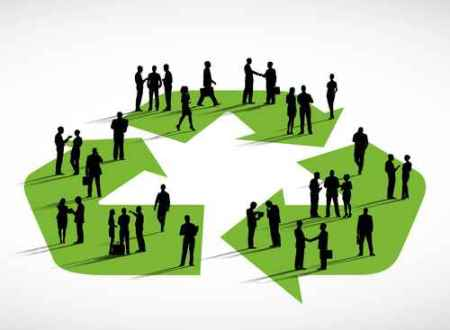 Business People Standing On A Symbol Of Recycling